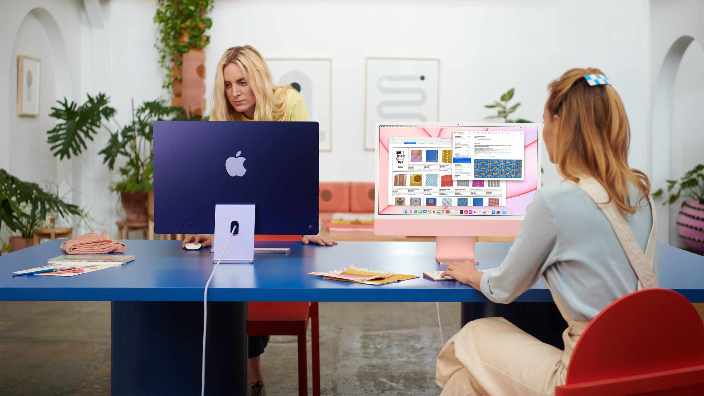 Apple's all new M1 iMac in blue and pink