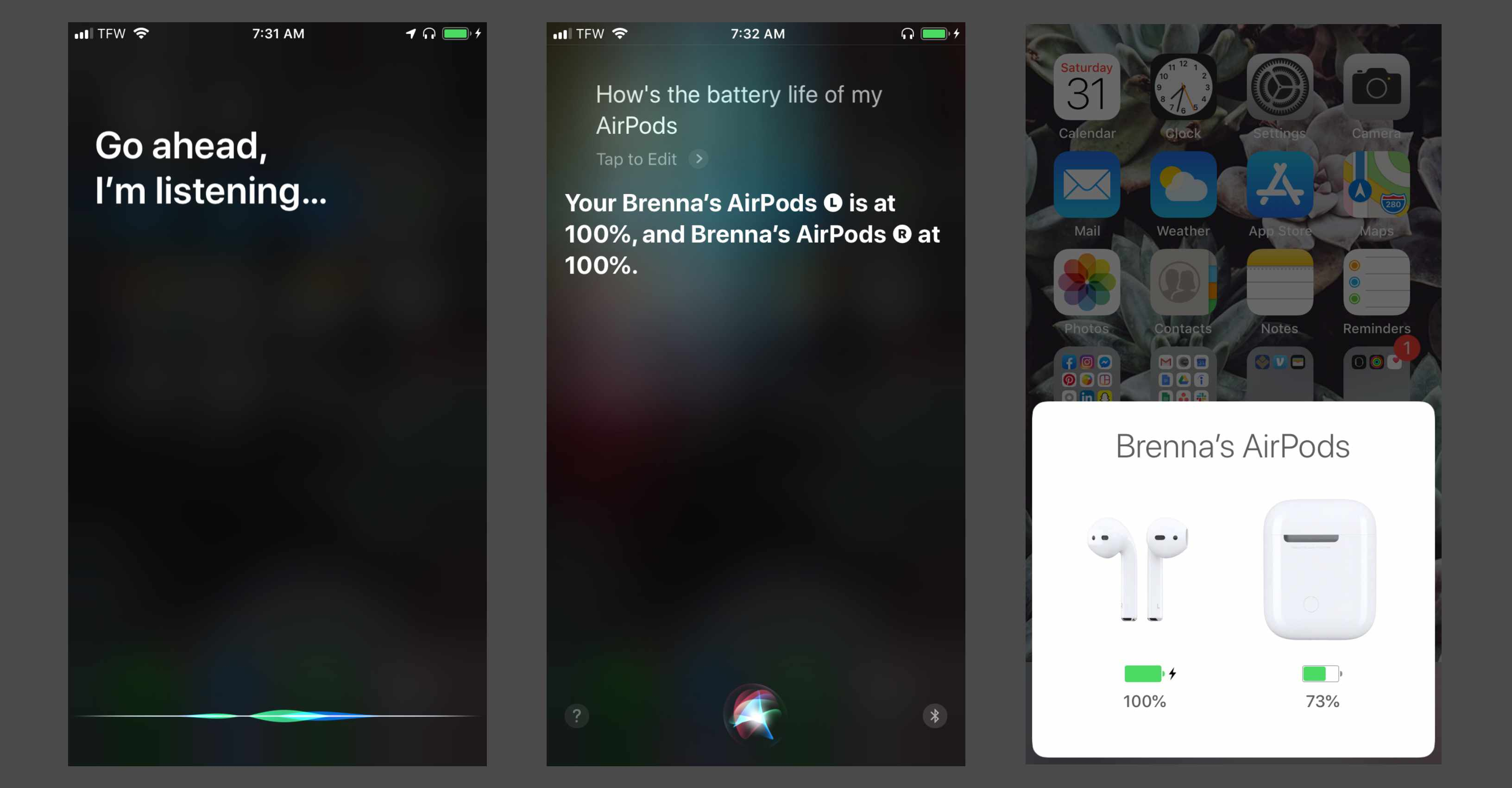 Using Siri with AirPods to check AirPod battery life
