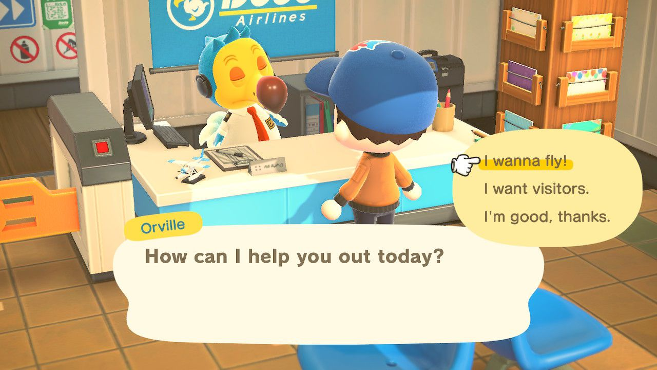 Selecting I wanna fly in Animal Crossing: New Horizons