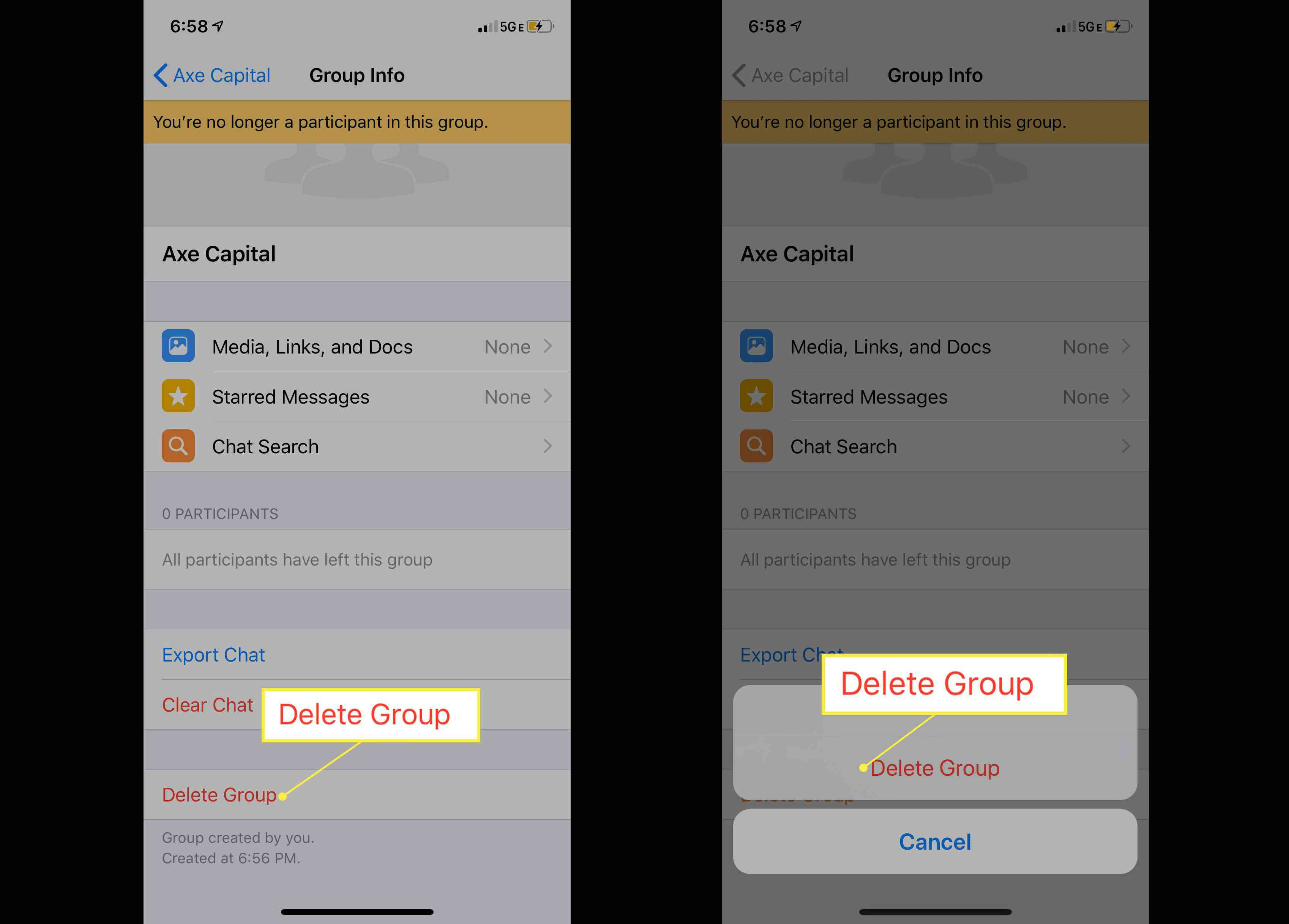 Deleting a WhatsApp group