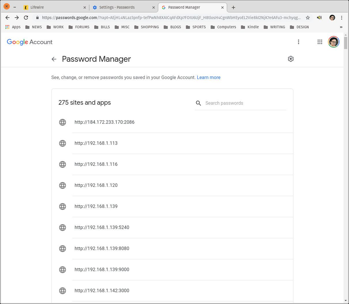 Saved passwords.