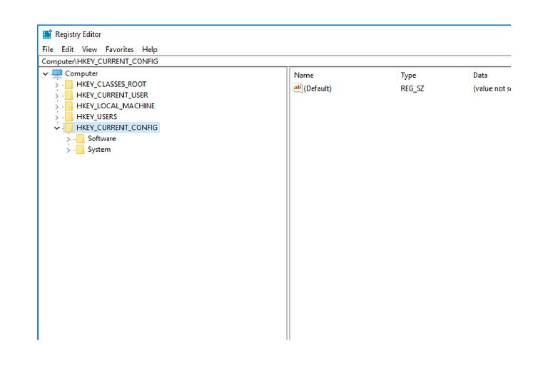 Screenshot of the HKEY_CURRENT_CONFIG registry hive in Windows 10