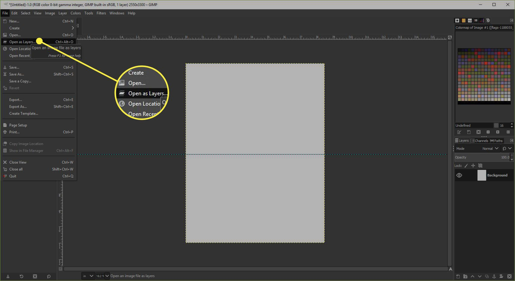 A screenshot of GIMP with the Open as Layers command highlighted