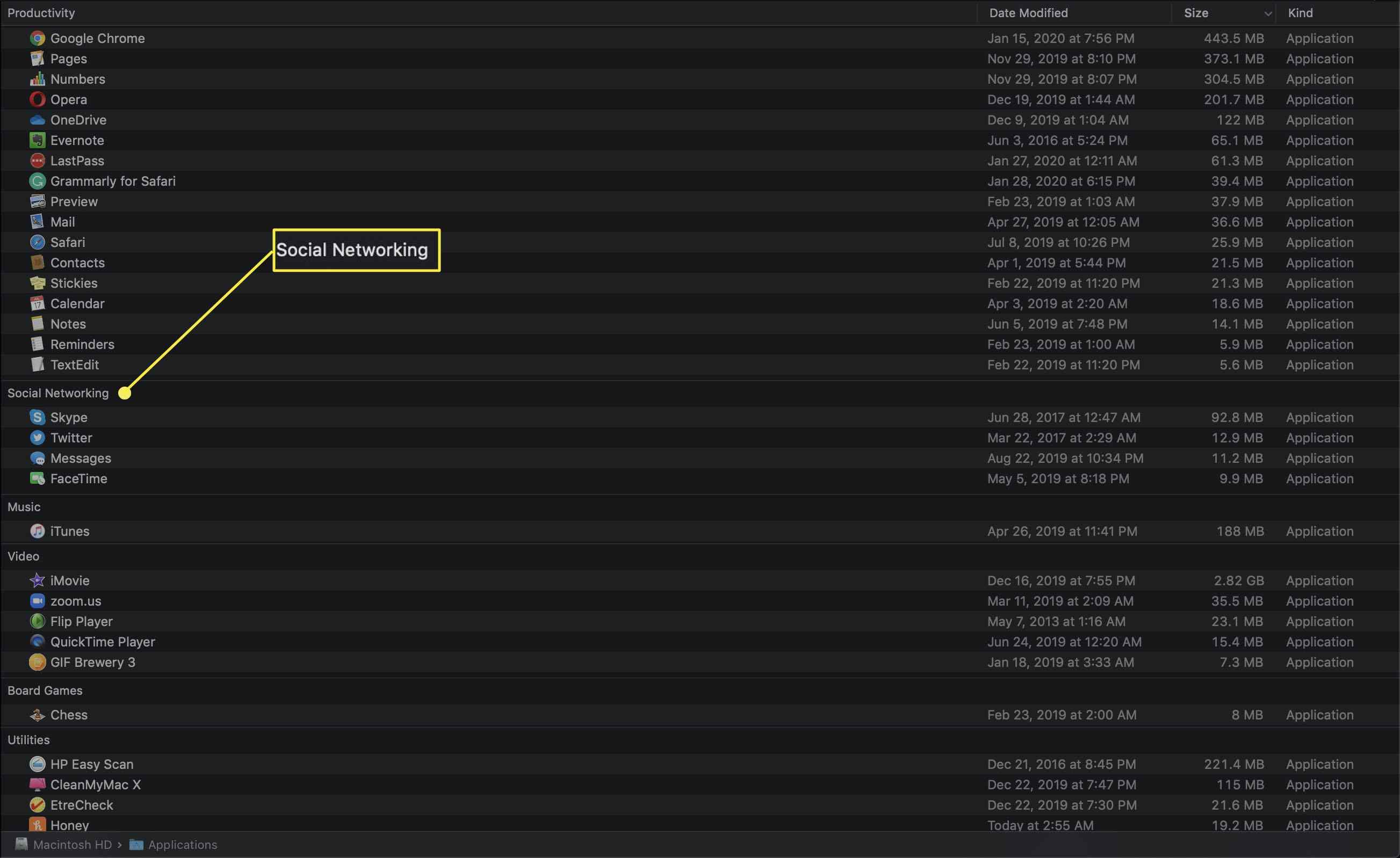 Application Category arrangement in Finder