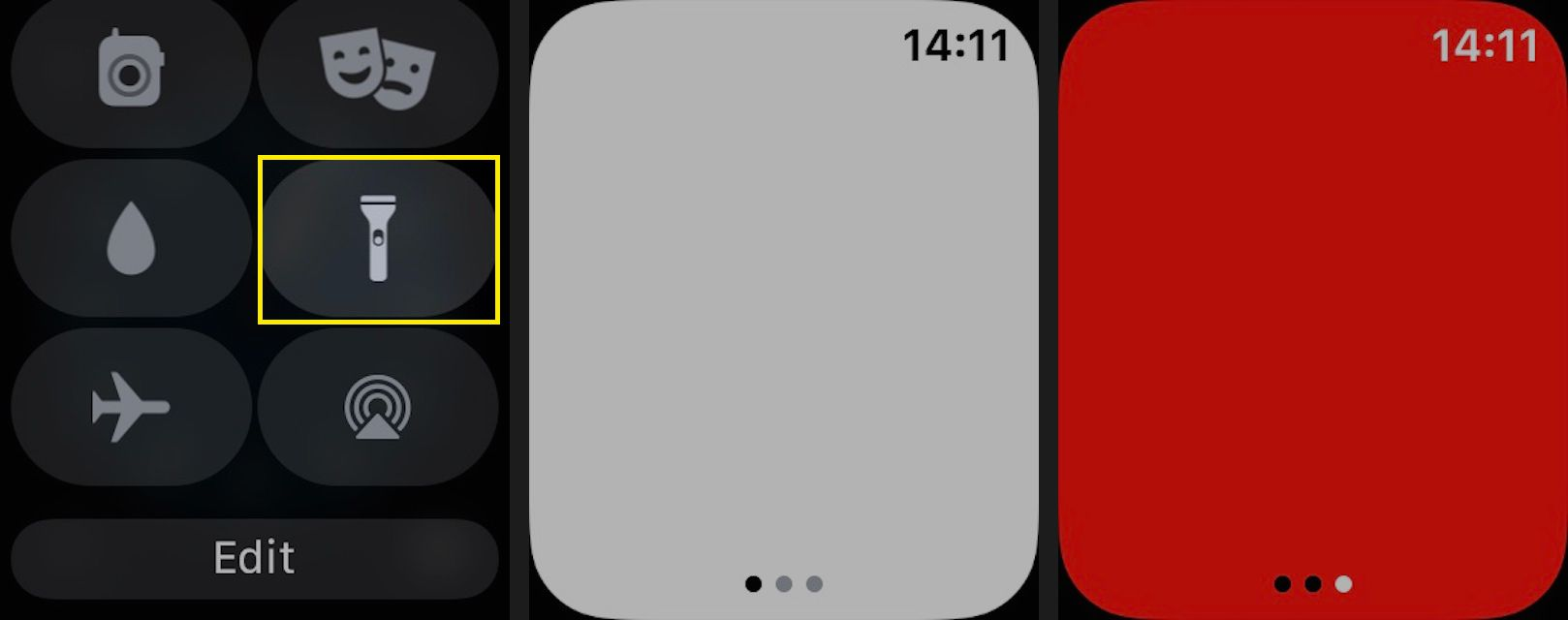 Tap Flashlight to activate the flashlight feature.