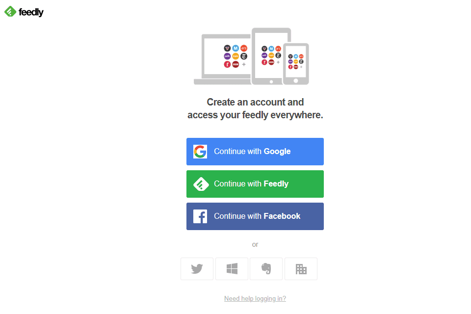 Feedly signup page