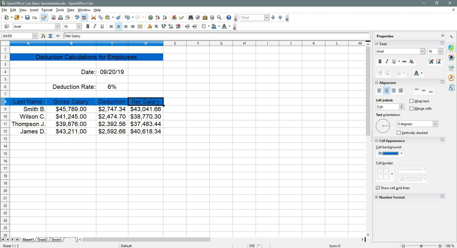 Setting the column headers to sky blue color in OpenOffice Calc.