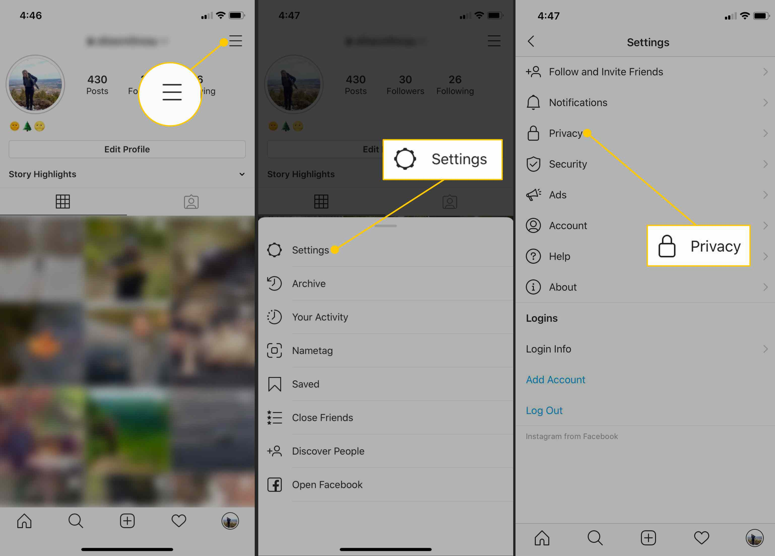 Menu, Settings, Privacy buttons on Instagram