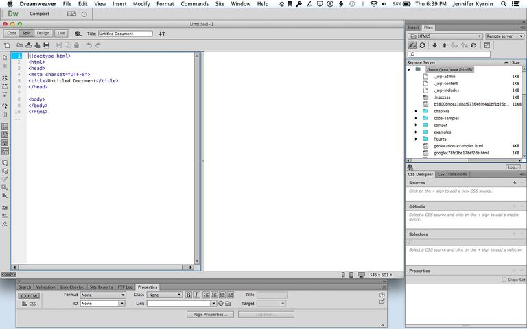Dreamweaver code and design view screenshot