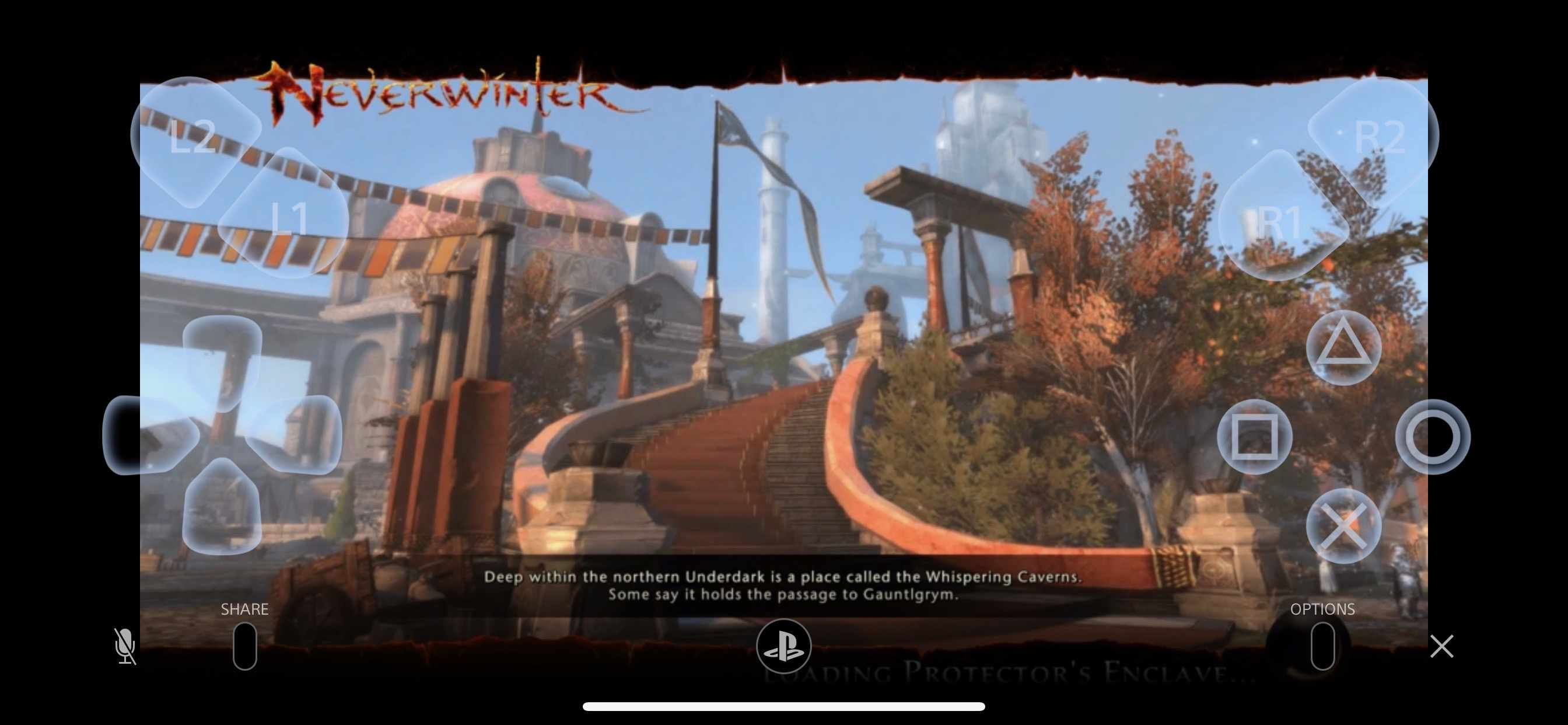 Neverwinter game from PS4 displayed on iPhone with control overlay
