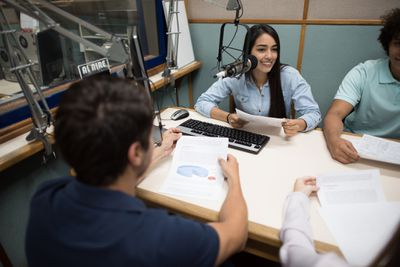 Podcasters in a personal studio