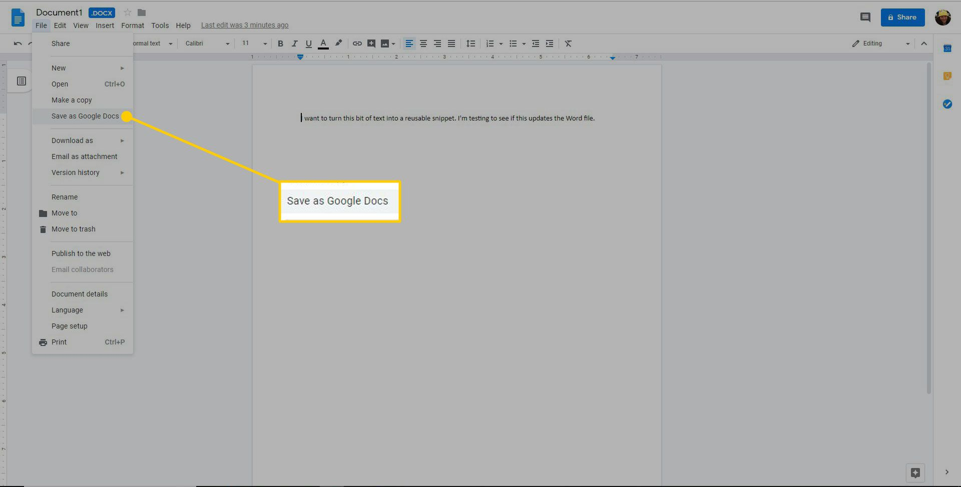 A document with the Save to Google Docs command highlighted