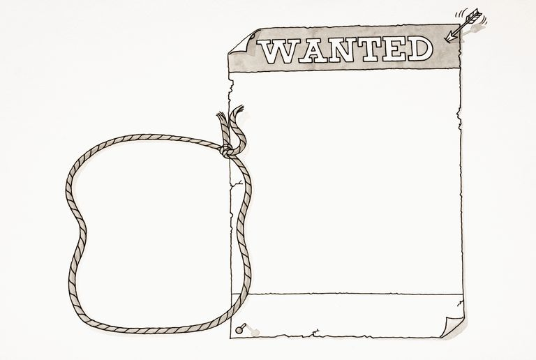cartoon blank wanted poster pinned up with two drawing pins and small arrow