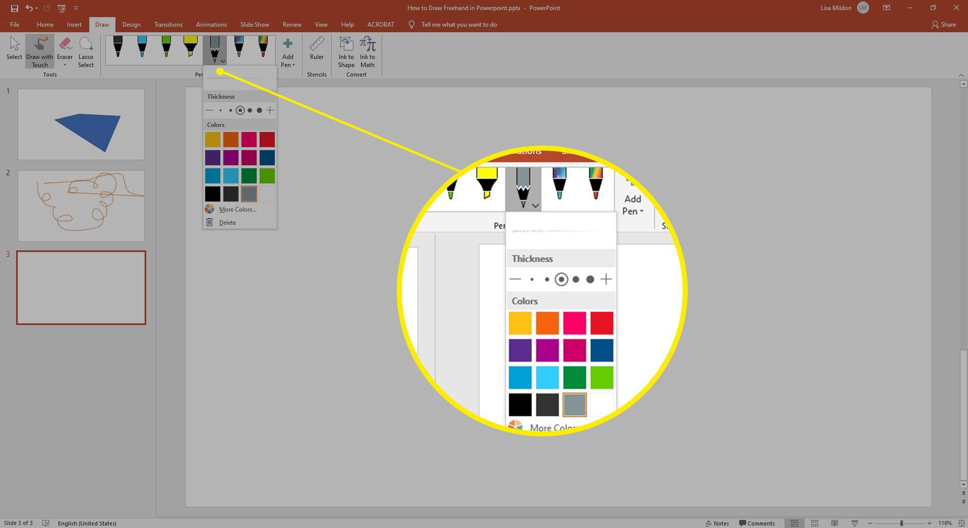 Pen formatting options inside the Pen tool in Powerpoint