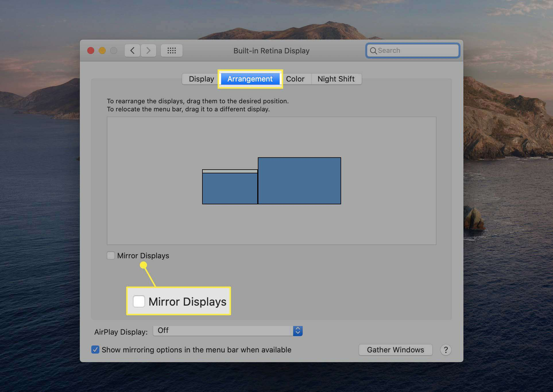 The Mirror Displays checkbox highlighted in the Arrangement tab in Displays System Preferences in macOS.