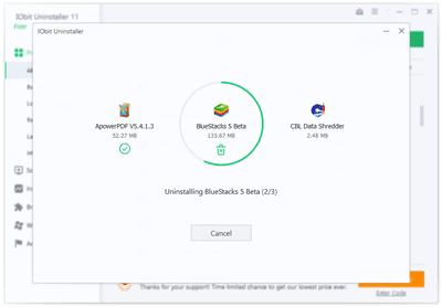 IObit Uninstaller uninstalling three programs