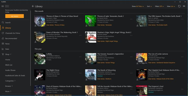 The Windows Audible App Downloads and Plays Your Audio Books.