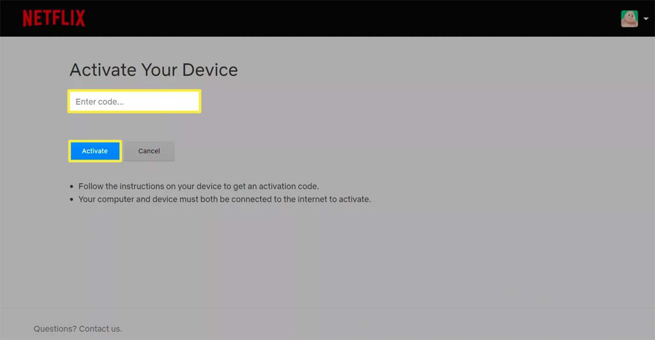 Netflix Activate Your Device page in a browser.