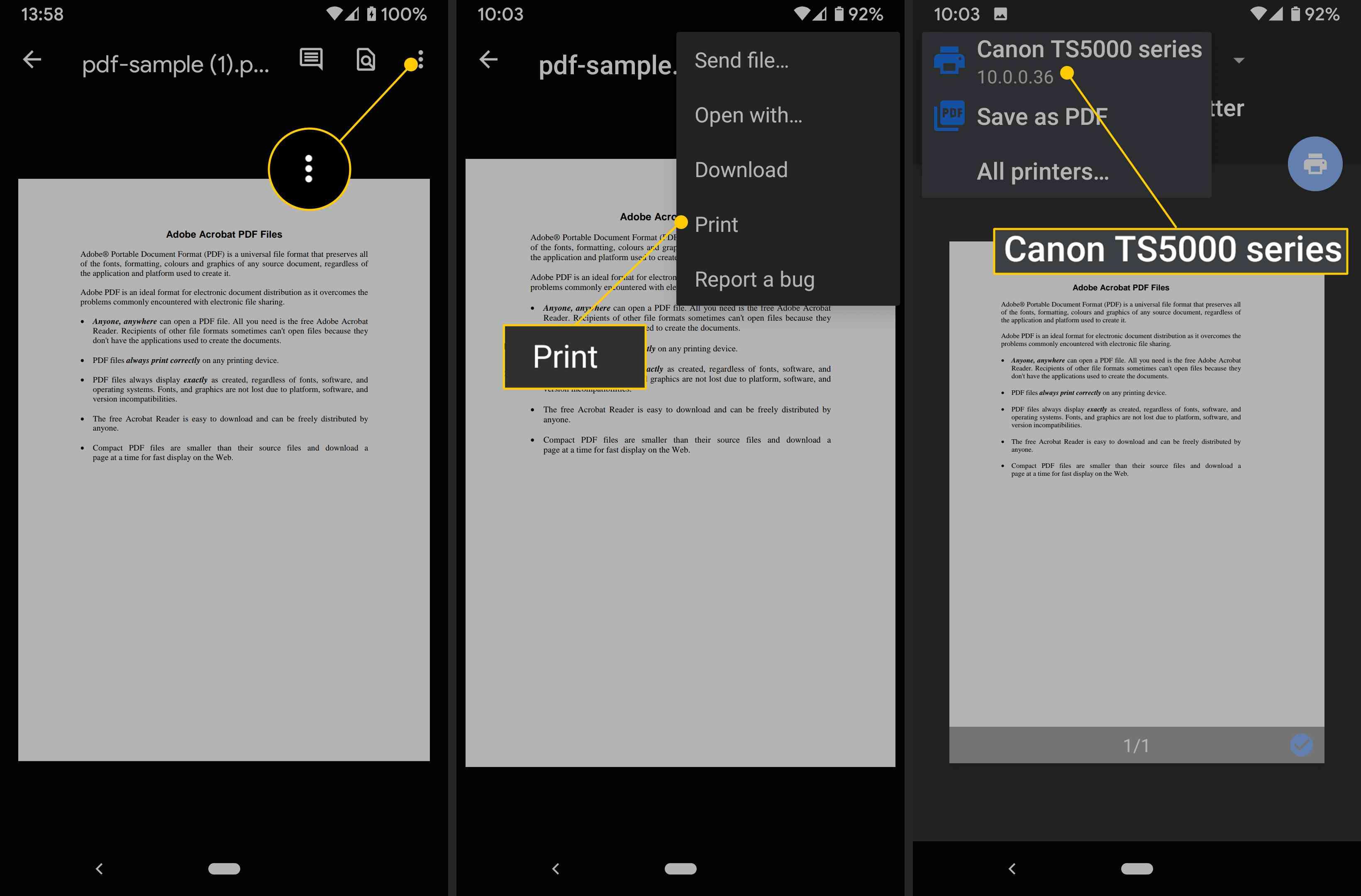 Three dot menu, Print, printer to choose