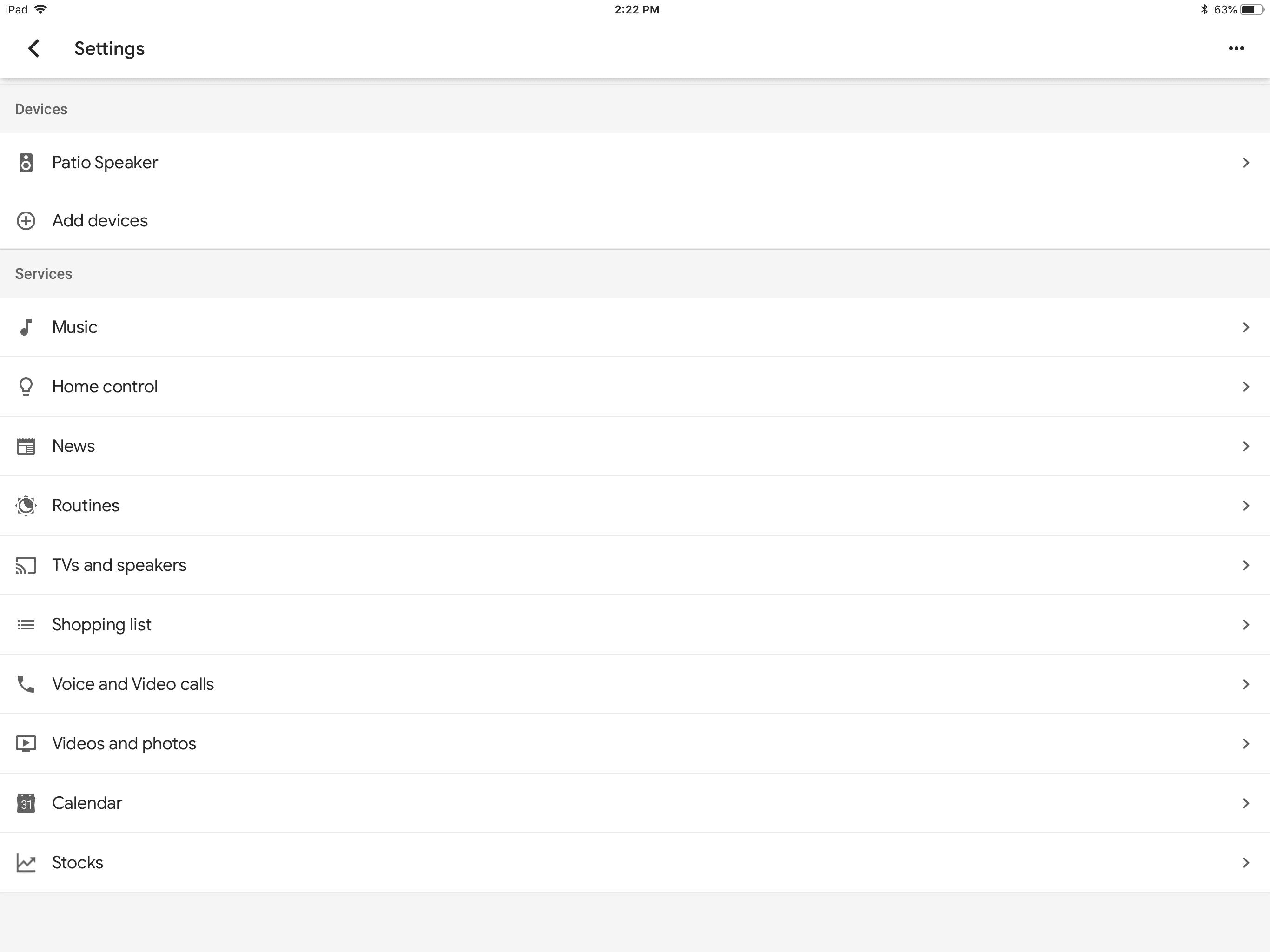 Screenshot of Google Home Settings