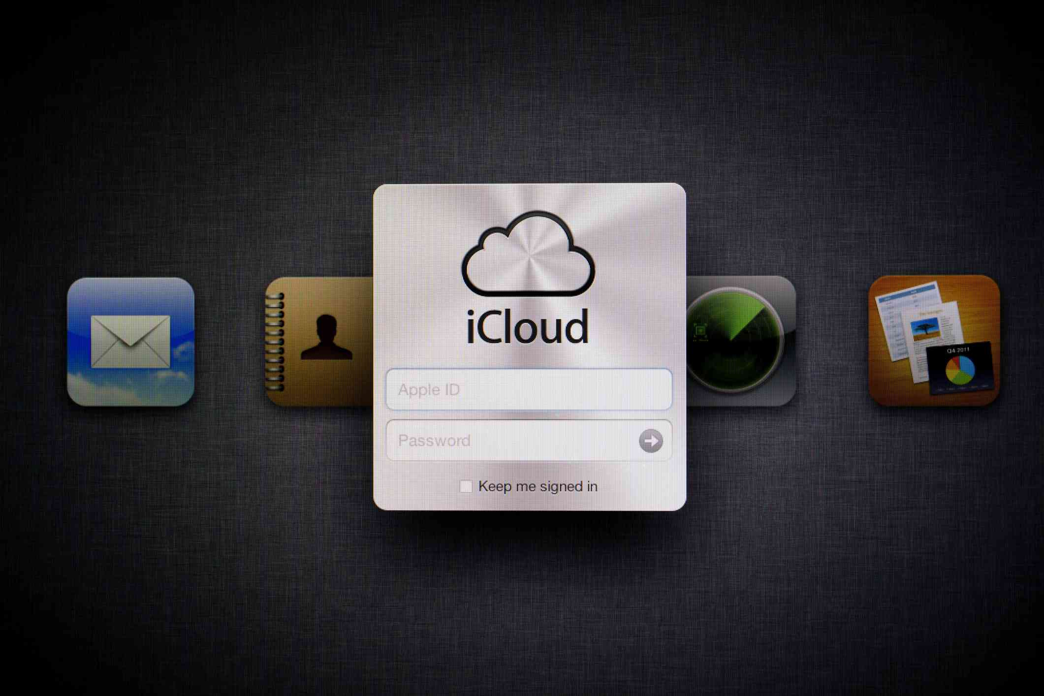 Apple iCloud Web Page with iCloud email icon