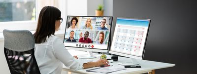 Woman Scheduling an Online Video Conference