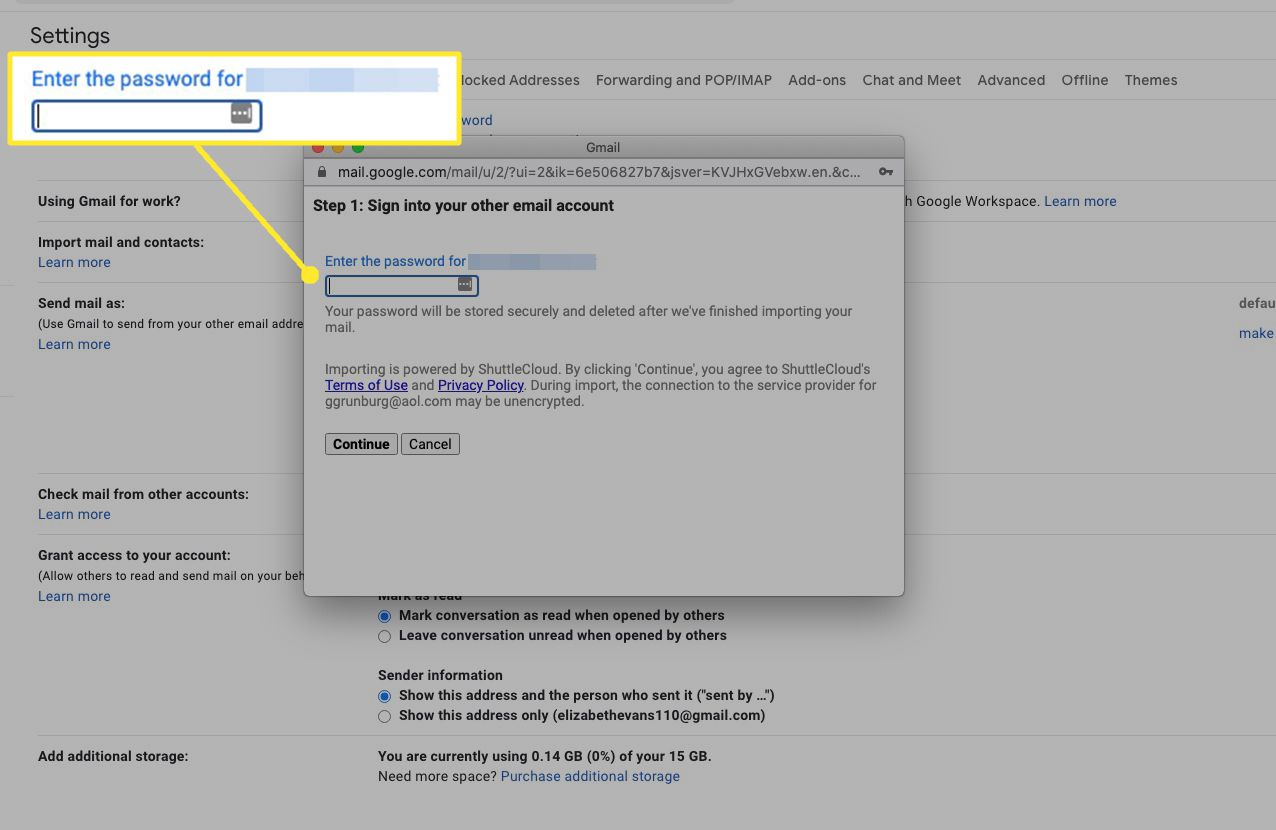 Aol password importation box highlighted