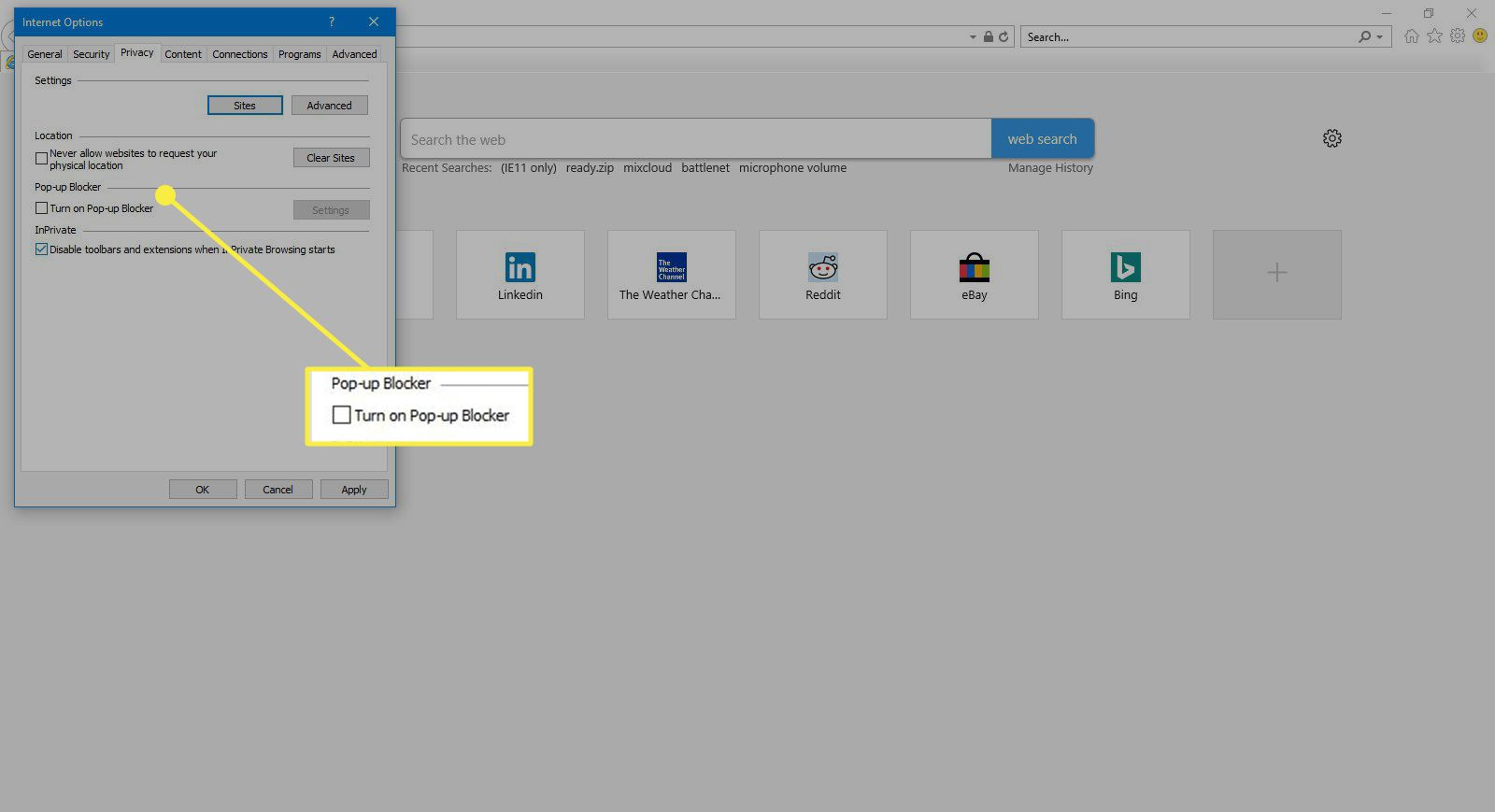 The Pop-Up Blocker settings in Internet Explorer