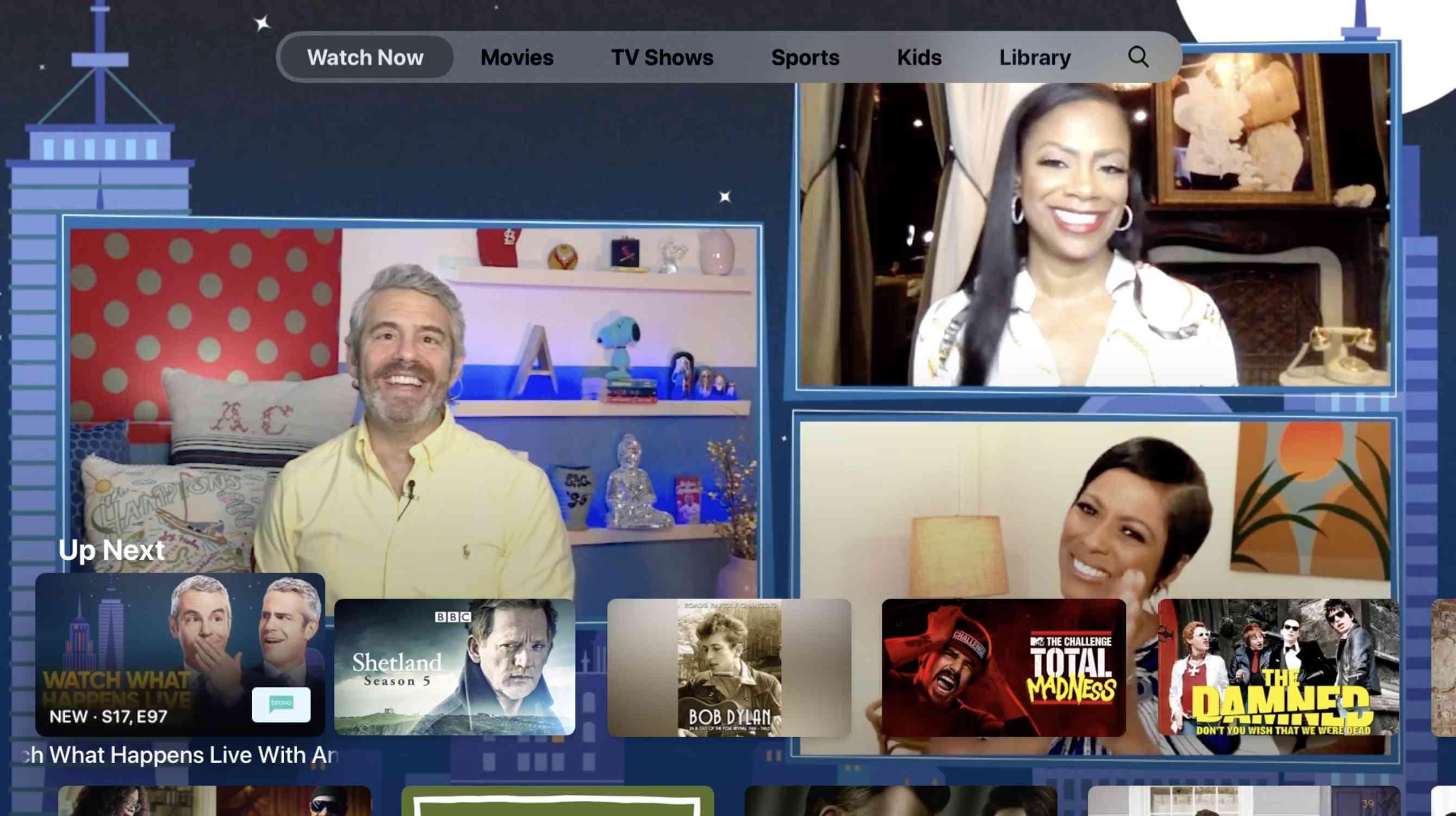 Screenshot of Apple TV app homescreen
