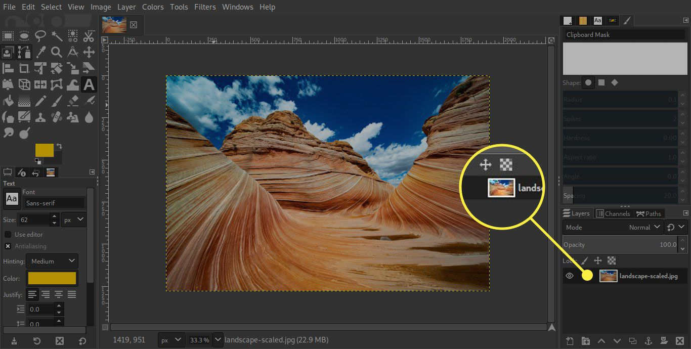 A screenshot of GIMP with a layer highlighted