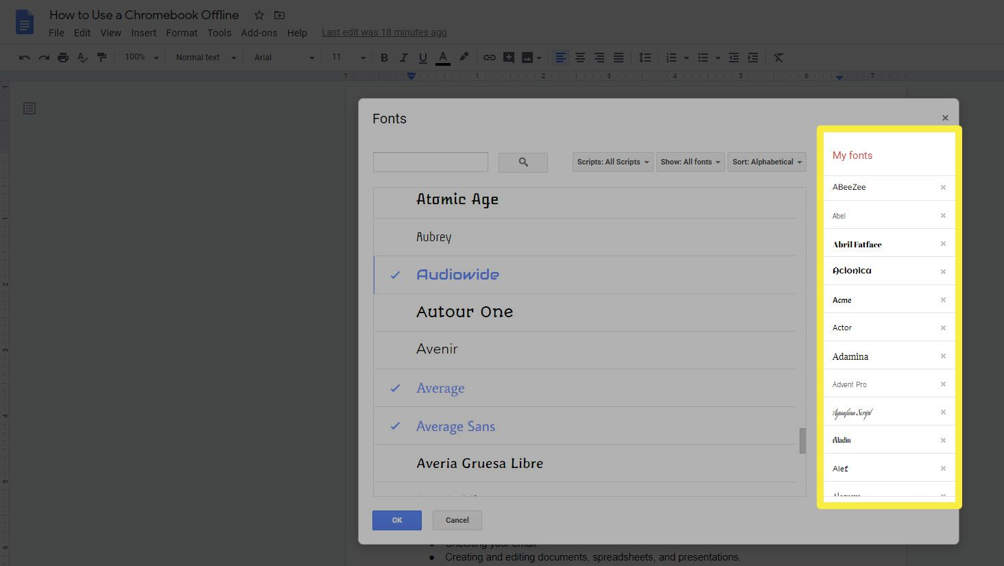 The My Fonts list in the Google Docs Fonts Picker.