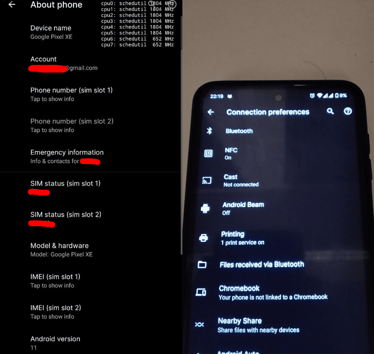 Screenshots of the pixel xe about phone and connection preferences screens