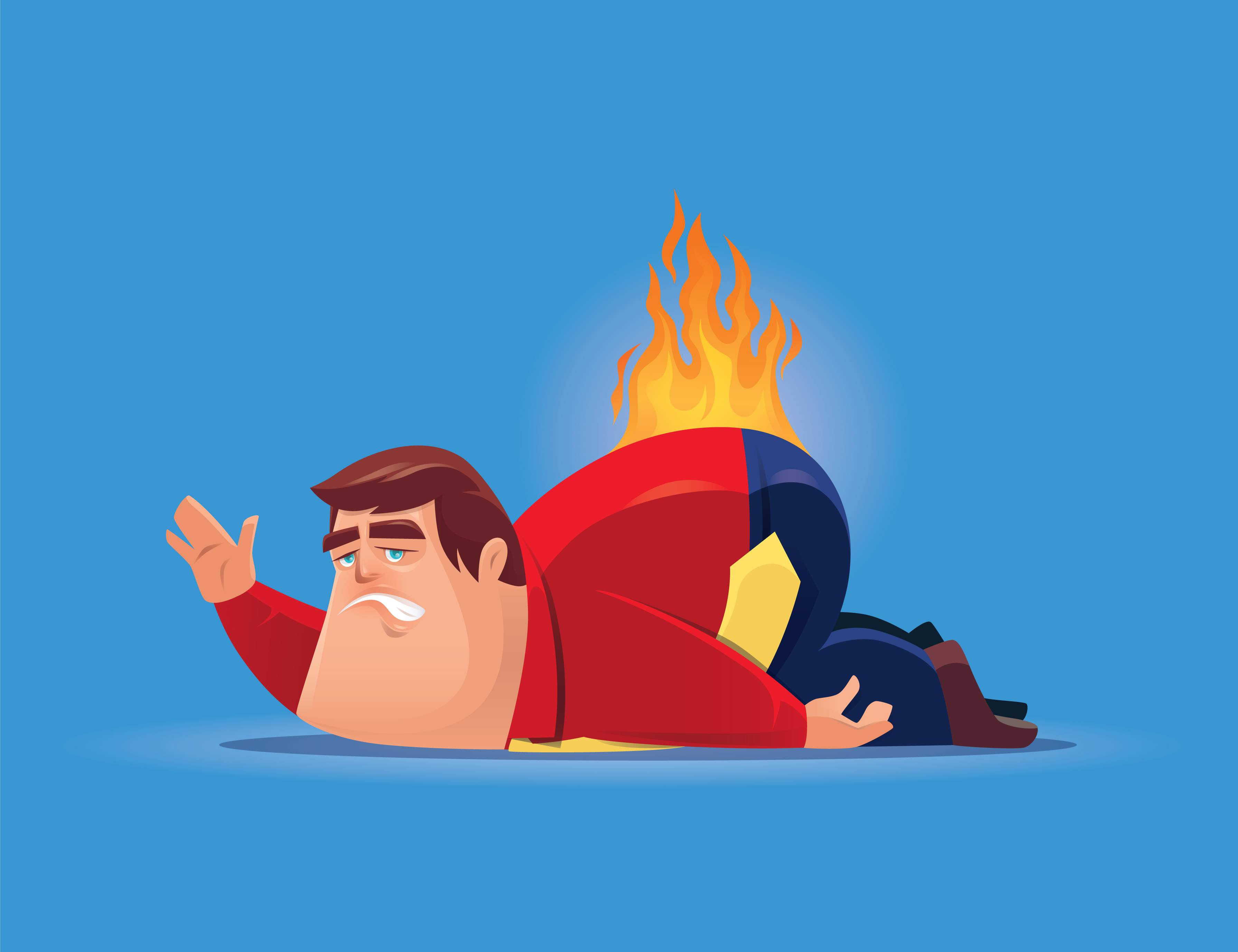 Illustration of man with back on fire waving with discontent