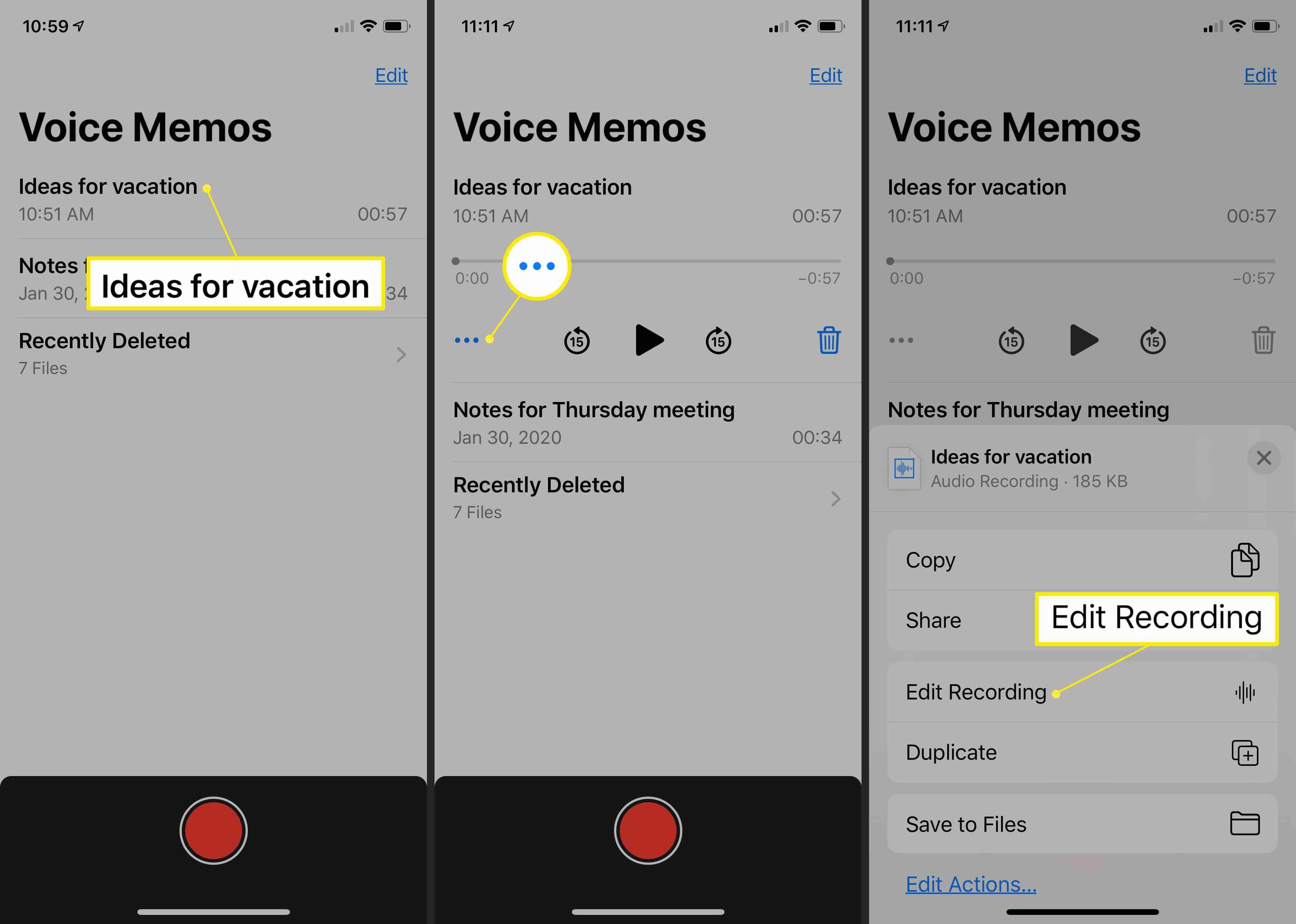 Voice Memos on iPhone showing menu