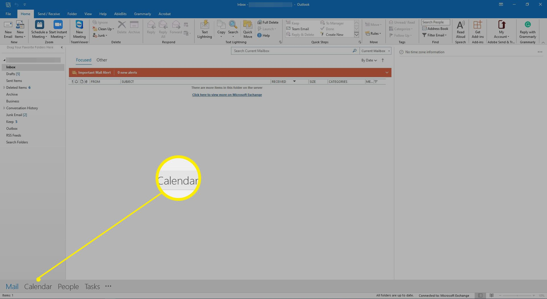 Outlook 2019 showing the View Switcher to access the Outlook Calendar.