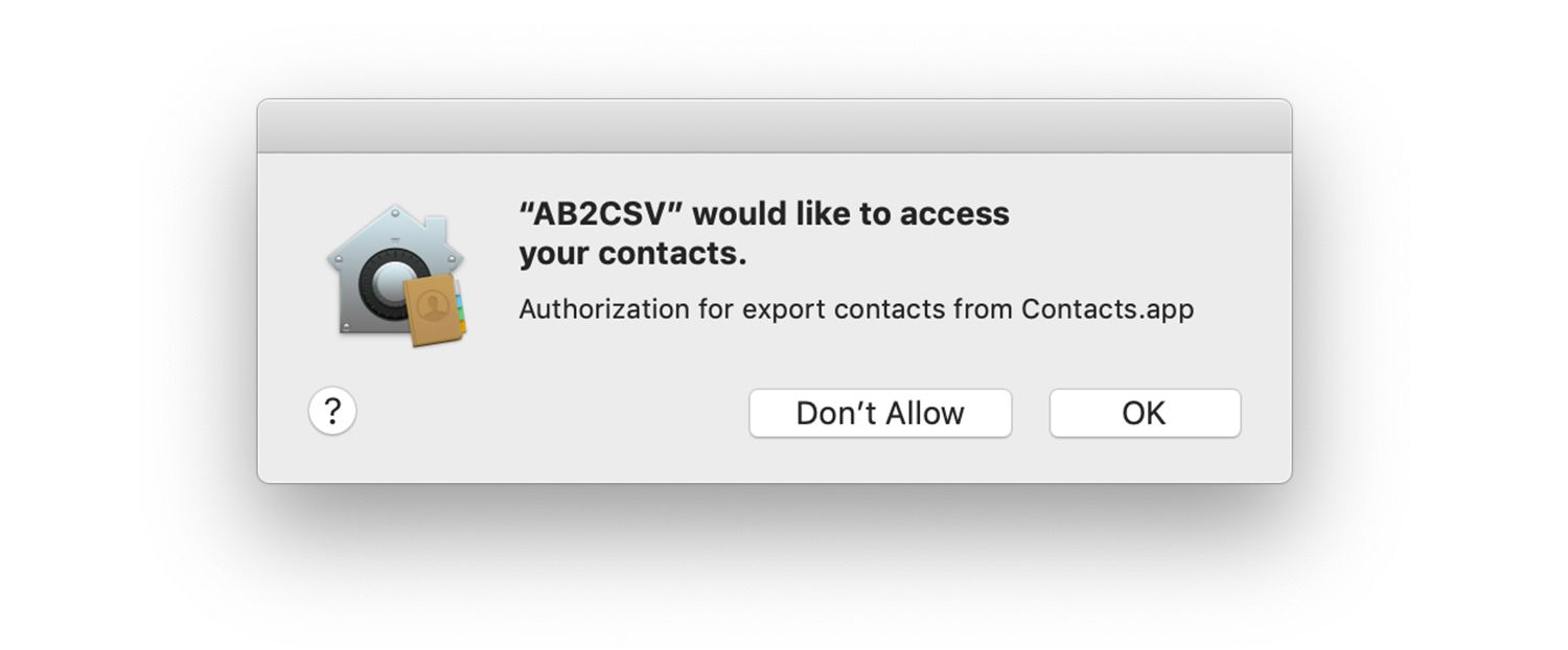 Permission screen to access Contacts