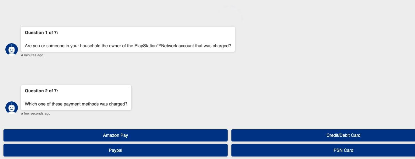 Confirming payment method with PlayStation support bot.