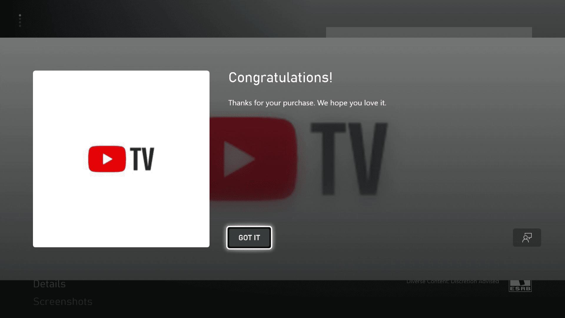 YouTube TV on Xbox Series X S.
