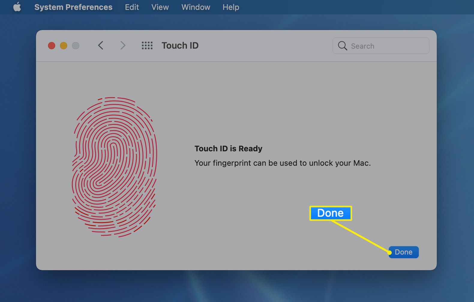 Done highlighted on a completed Touch ID fingerprint screen