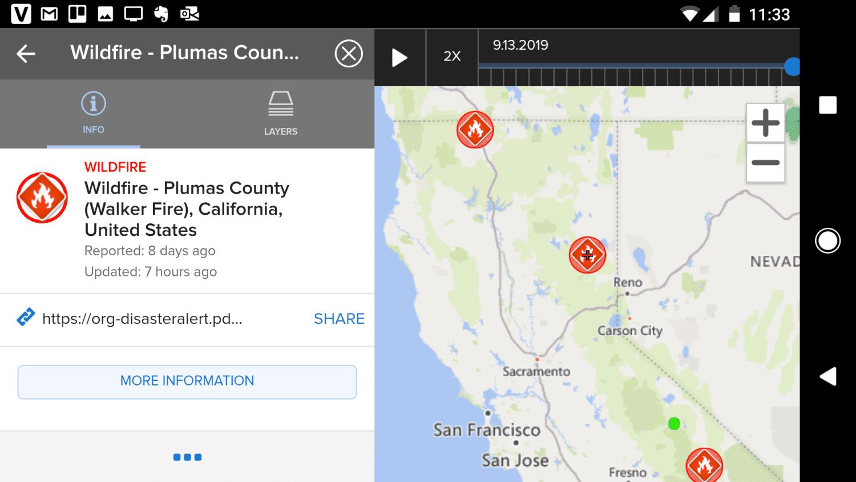 Screenshot of the Disasteralert app