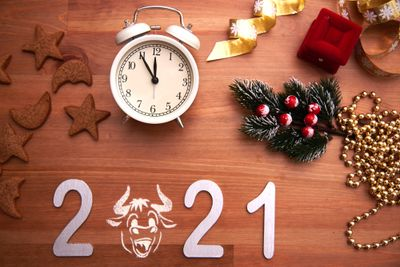 Chinese New year's layout for a calendar and greeting card on a wooden background. The year symbol is a Bull between the digits.The view from the top