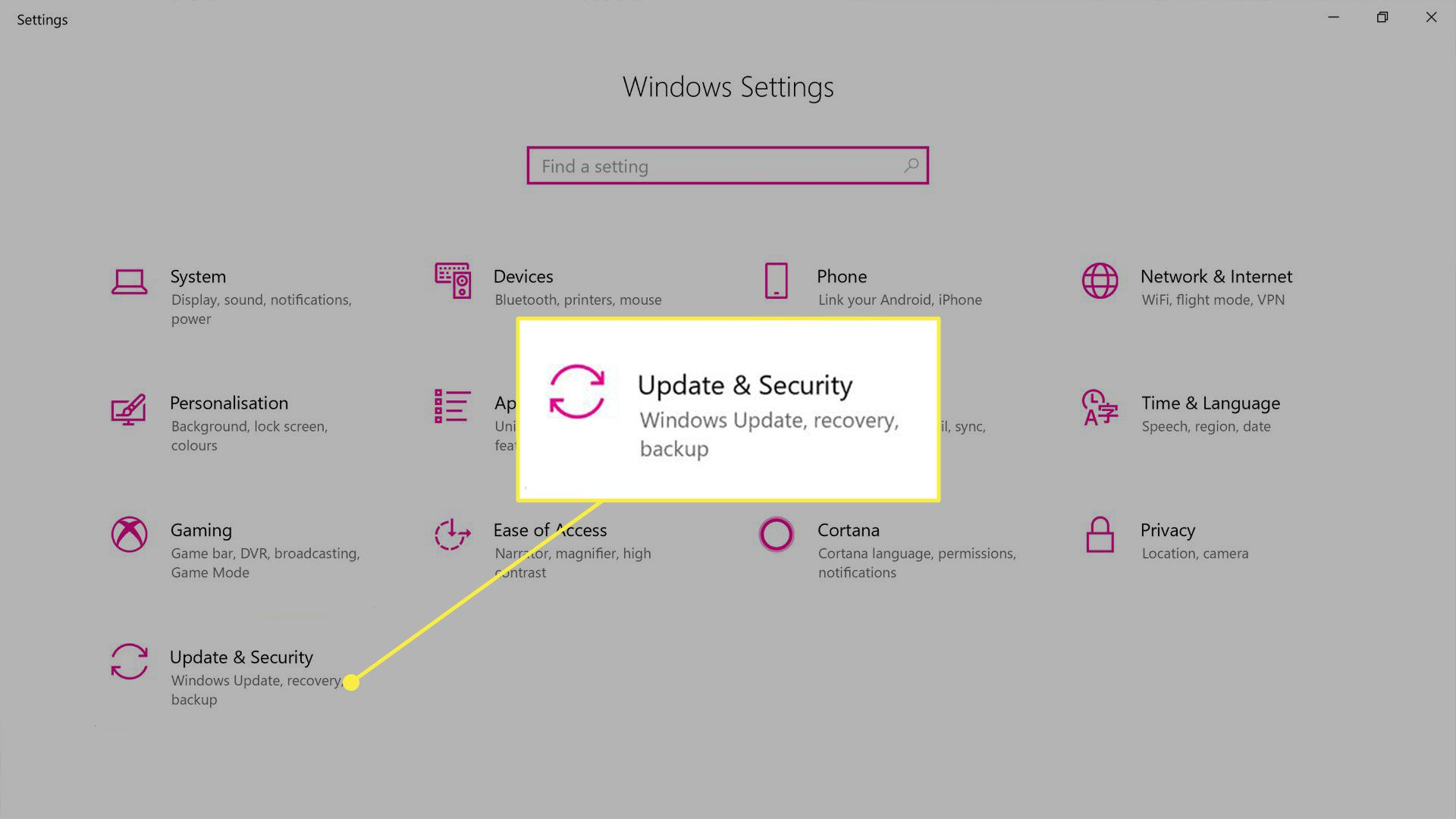 The Update & Security setting