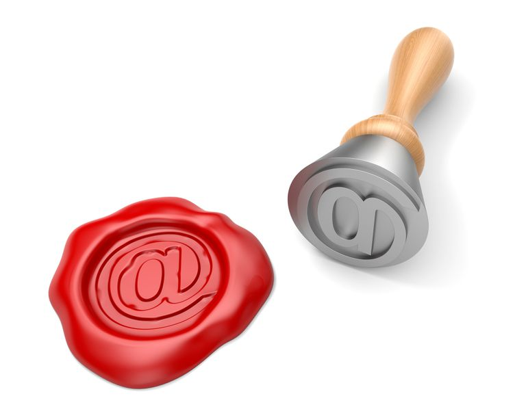 Stamp and wax seal with email mark