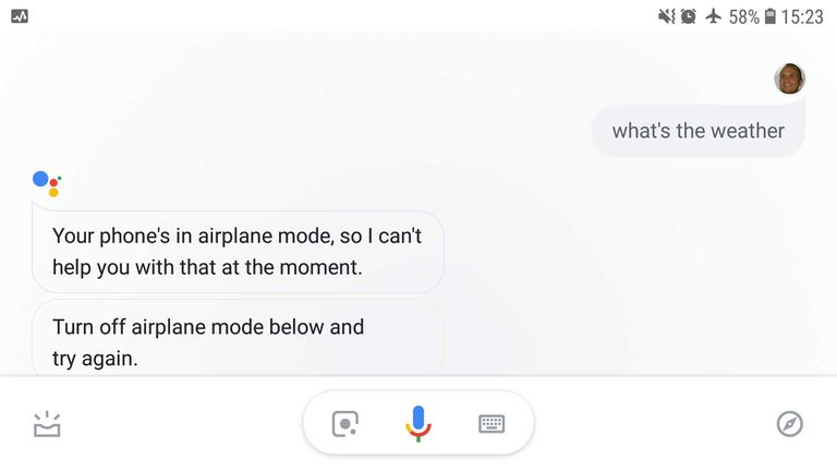Screenshot of Google Assistant on Android when offline