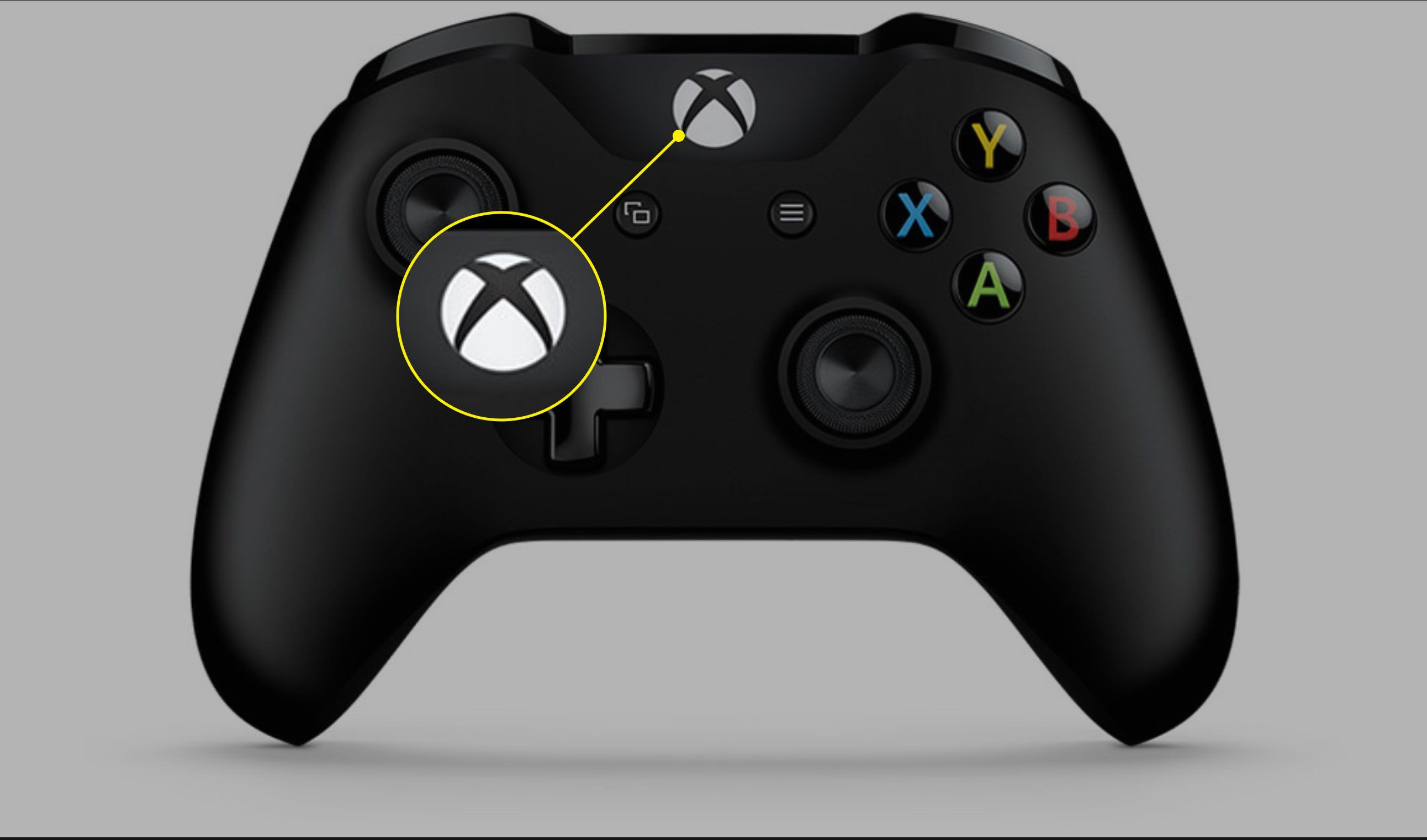 The Home button on an Xbox One controller