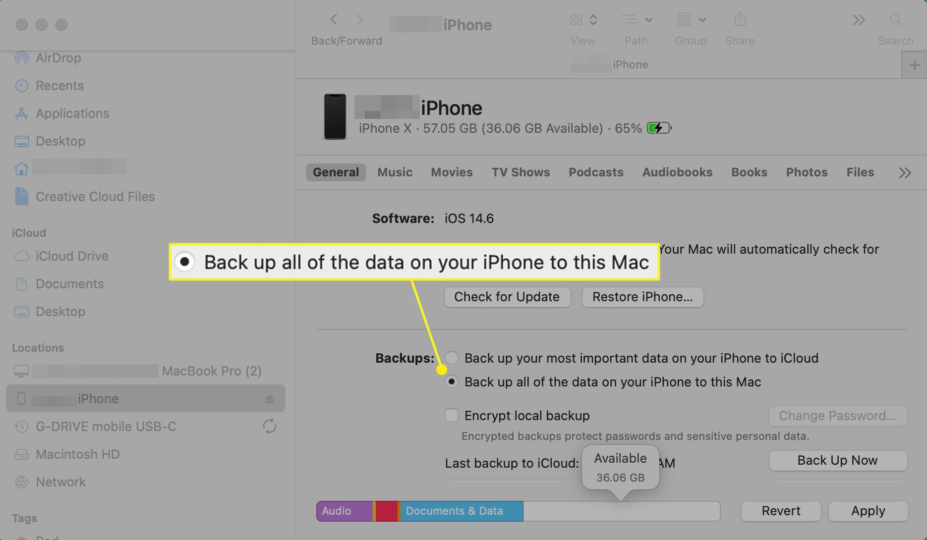 Mac Finder with Back up all of the data on your iPhone to the Mac selected