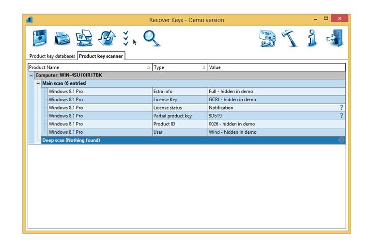 Screenshot of the Recover Keys demo keyfinder program