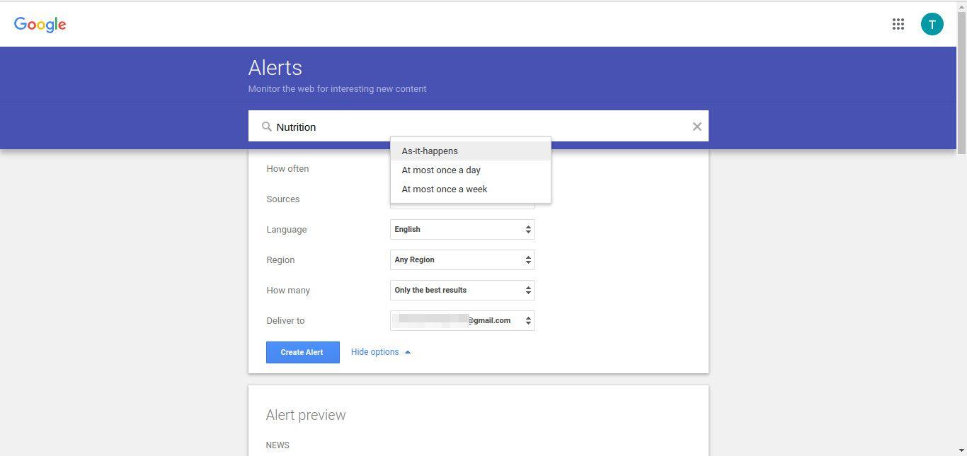 Google alert choose frequency screenshot