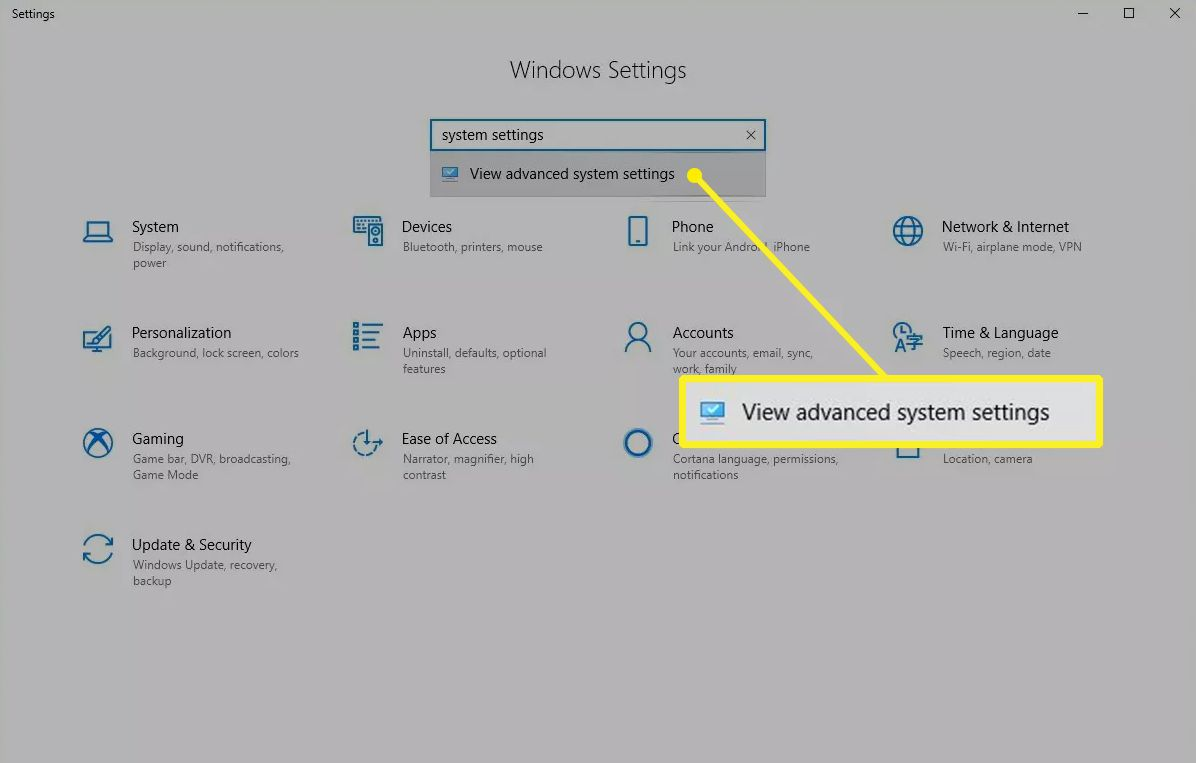 View advanced system settings in Windows 10