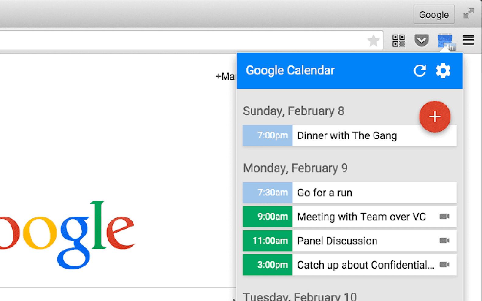 Google Calendar Chrome extension in use.